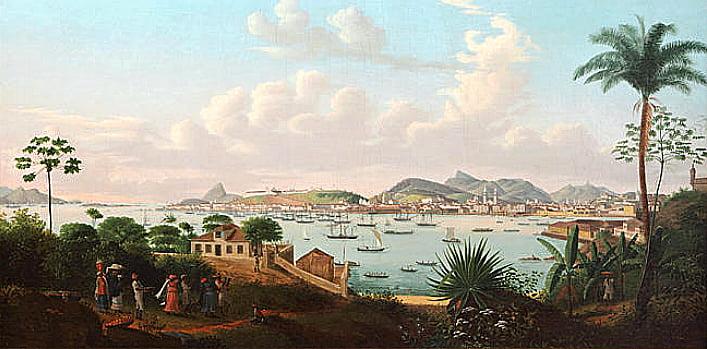 aquário do Rio de Janeiro, imagem de gravura da baía de Guanabara em 1828