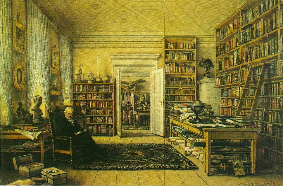 A invenção da Natureza, gravura de Humboldt em sua casa