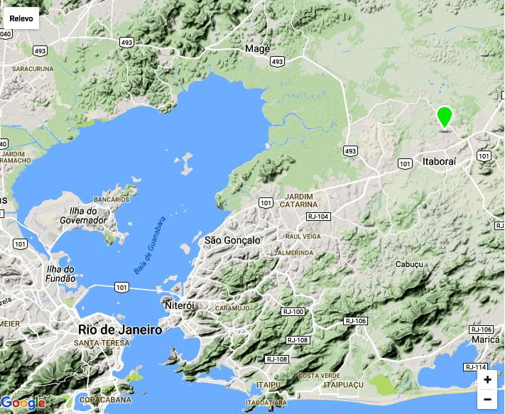 APA/ESEC Guapimirim, mapa mostrando a localização da Comperj, RJ