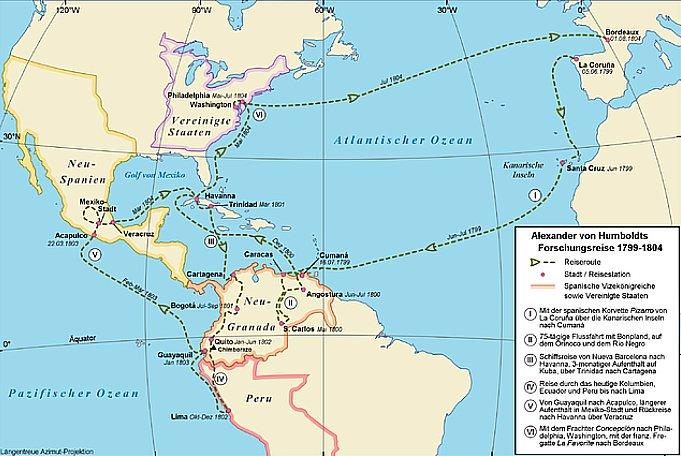 A invenção da Natureza, mapa-da-viagem-de Humboldt pelas-americas