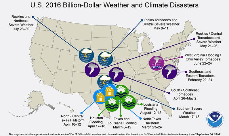 Custos de eventos extremos, mapa-dos-desastres-climaticos-nos-USA
