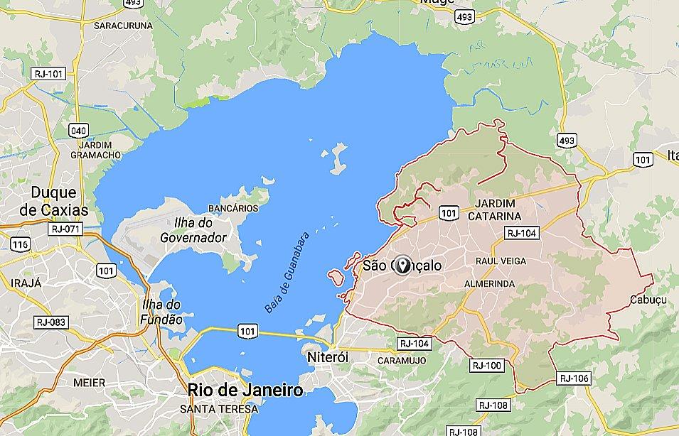 APA/ESEC Guapimirim, mapa-mostrando sao-goncalo, RJ