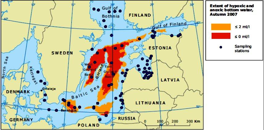 mares e oceanos mais poluídos, mapa do mar-baltico-e-zonas-mortas