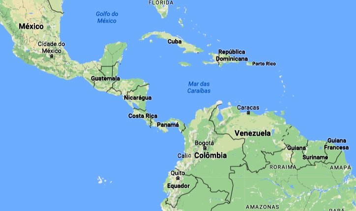 mares e oceanos mais poluídos, imagem do mapa do mar do Caribe