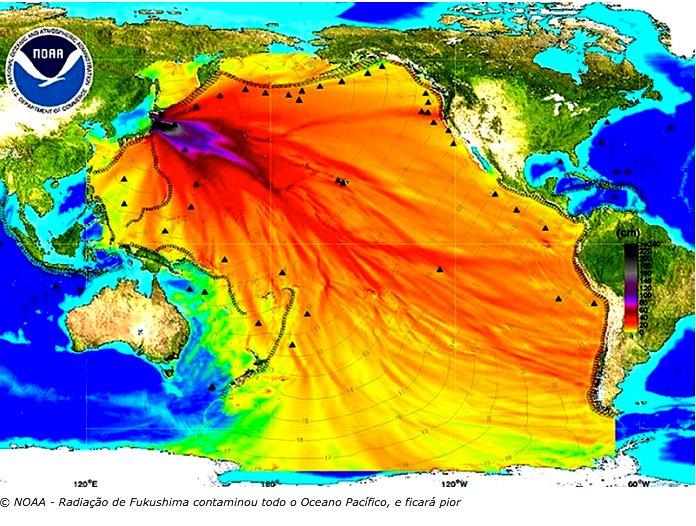litoral, imagem de gráfico da radicao-do-Pacifico pelo acidente de Fukushima