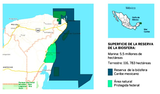 Áreas marinhas protegidas no México, mapa da área marinha protegida do méxico