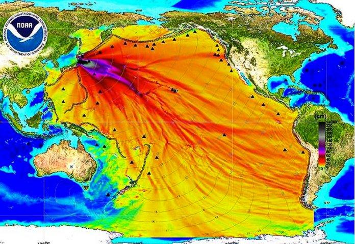Desastre de Fukushima, ilustração da contaminação do pacífico pelo desastre de fukushima