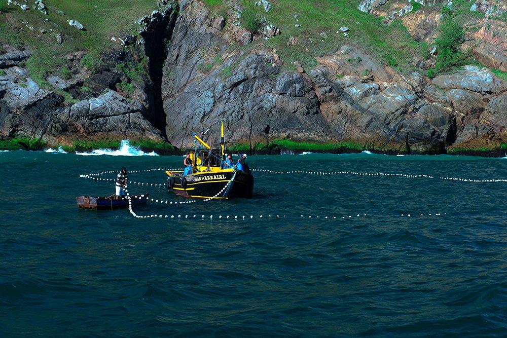 Falta fiscalização no litoral, imagem de barcos de pesca com rede em Cabo Frio