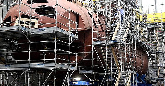 Submarino nuclear da Marinha, imagem do estaleiro da marinha do brasil onde são construídos novos submarinos