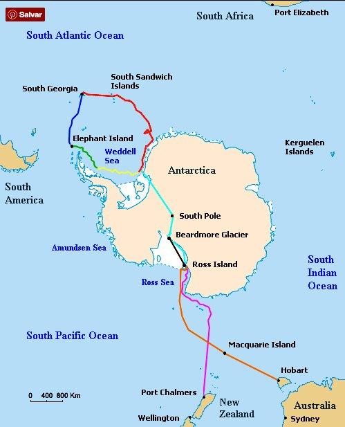 Ernest Shackleton, imagem do mapa da viagem de Shackleton