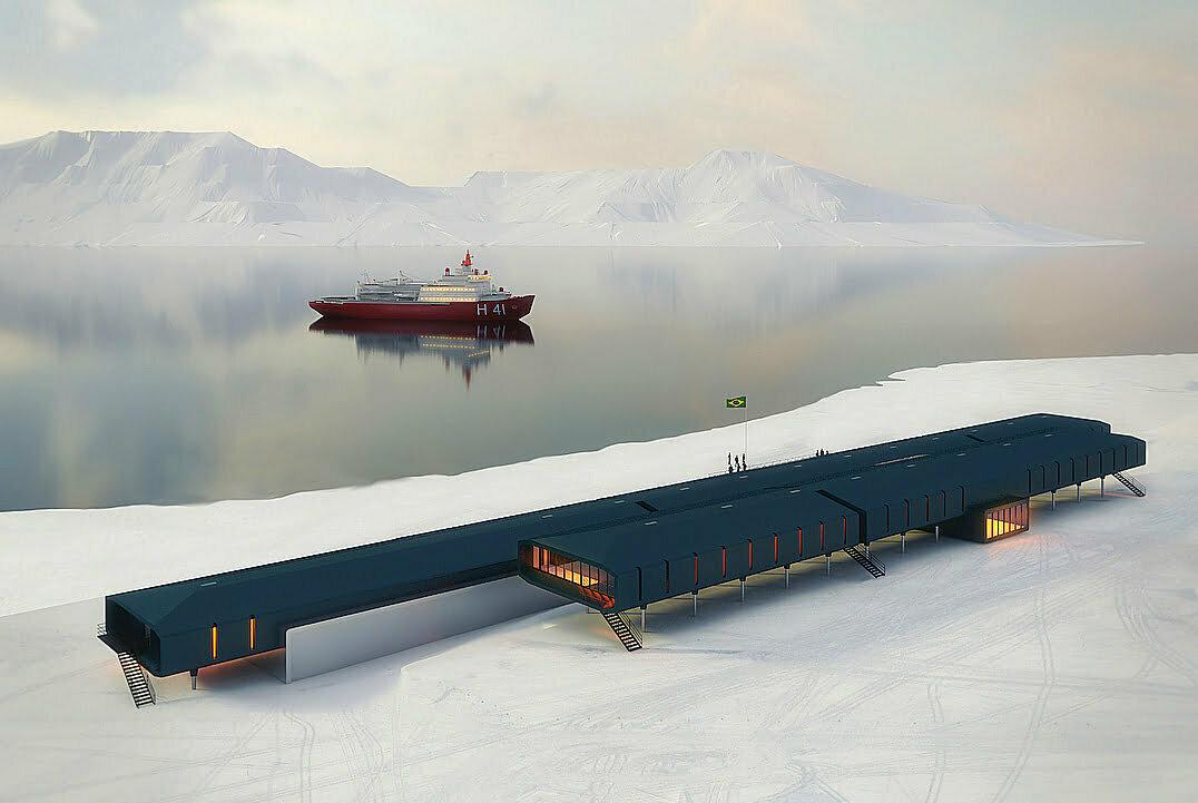Reconstrução da Estação Comandante Ferraz, ilustração do projeto-da nova base brasileira na Antártica