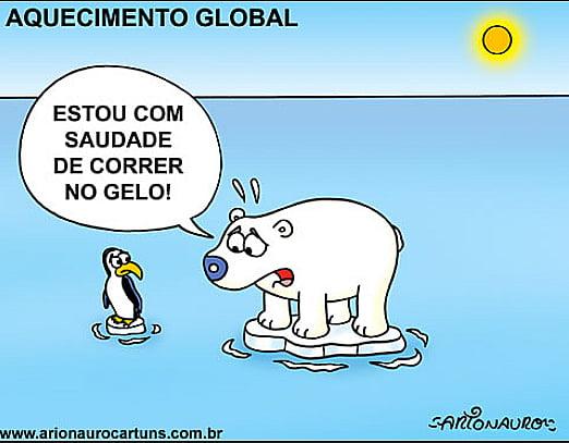Aquecimento global 2016, ilustração de urso polar num pequeno pedaço de gelo