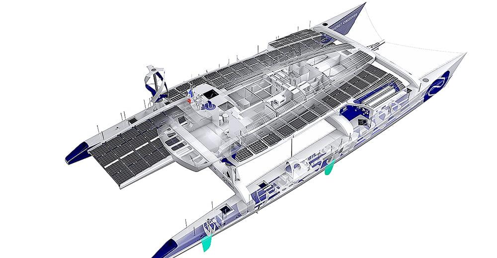 Embarcação a hidrogênio, desenho do energy observer primeiro barco movido a hidrogênio