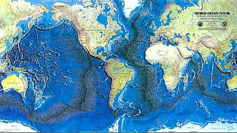 curiosidades sobre os oceanos, imagem de mapa do Woods Hole Oceanographic Institution a maior cadeia de montanhas do planeta fica mais evidente