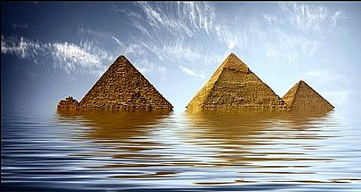 Aquecimento global 2016, ilustração mostrando pirâmides boiando no mar