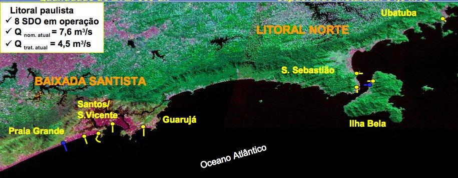 Litoral de São Paulo e saneamento, mapa do litoral de são paulo