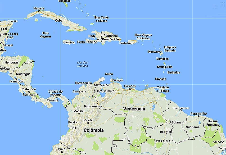Mar do Caribe, imagem de mapa do Mar do Caribe