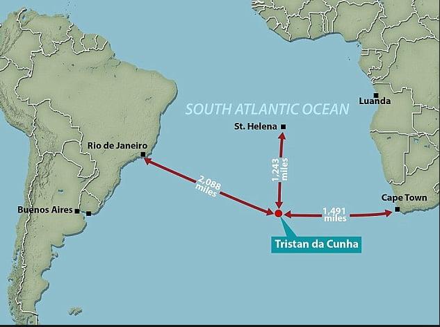 Ilhas do Atlântico Sul, ilustração de mapa mostrando a posição de Tristão-da-cunha-
