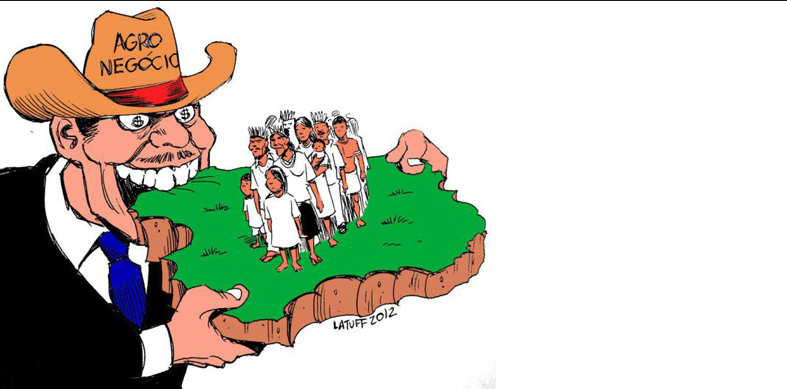 Ambientalistas e ruralistas, charge de ruralista comendo pedaço de terra