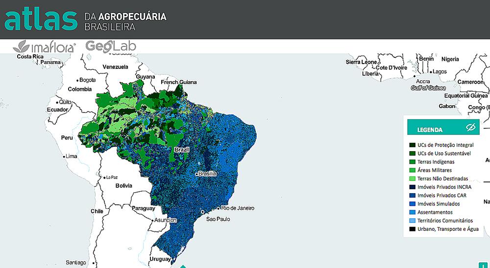 Ambientalistas e ruralistas, imagem de mapa do atlas da agropecuária brasileira