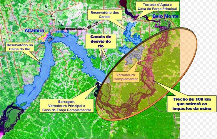 garimpo, imagem de ilustração das obras de Belo Monte no rio Xingu