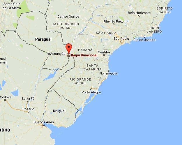 Lago Guaíba e mexilhão- dourado, mapa de localização da usina de Itaipu