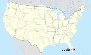 Tubarão ferido, mapa mostrando localização de Jupter, na Flórida
