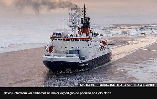 Expedição no Polo Norte, imagem do navio polar Polarstern