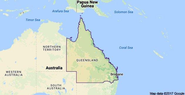 Grande Barreira de Corais, mapa da Austrália mostrando Queensland