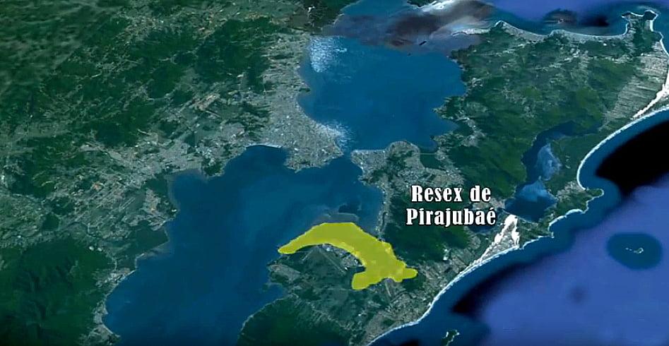 Berbigão de Santa Catarina, imagem de mapa da resex pirajubaé, SC