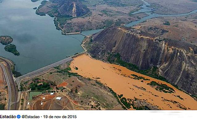 Rio Doce, imagem da ruptura da barragem do Fundão