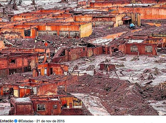 Rio Doce, imagem de cidade destruída pela lama da barragem de Fundão