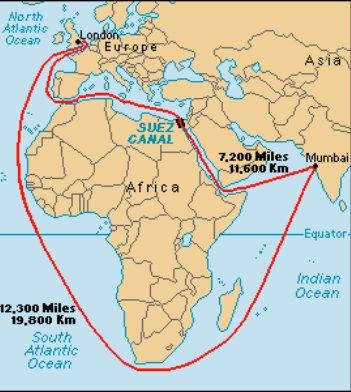 O canal de Suez, mapa mundi mostrando o canal de suez