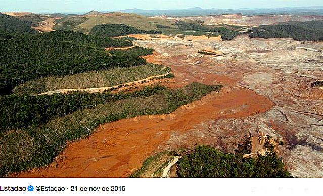 Rio Doce, imagem de um vale arrasado pela lama da barragem de Fundão