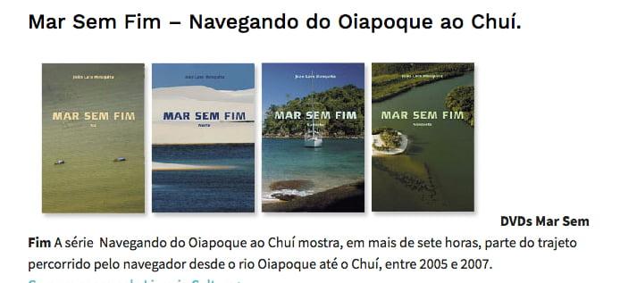 Mar Sem Fim chega à academia, imagem de caixa de DVDs das viagens do mar sem fim