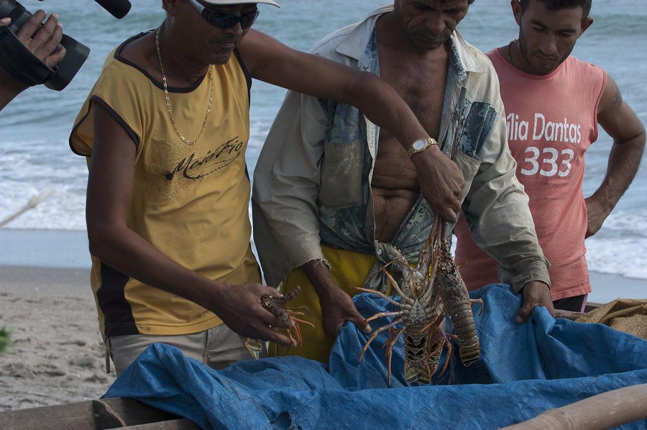 imagem de pescador com lagosta