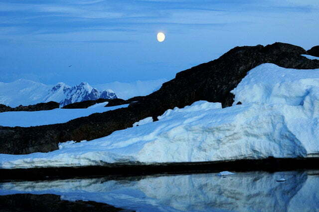 Noite bonita na Antártica
