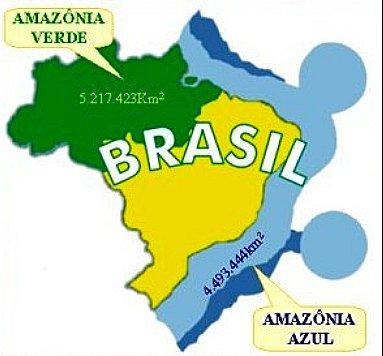 Amazônia Azul, imagem de mapa comparando a amônia ver à azul