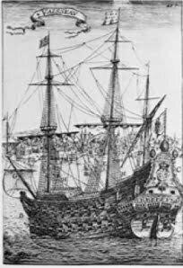 Gravura do Padre Eterno, Maior navio do mundo, no século 17,