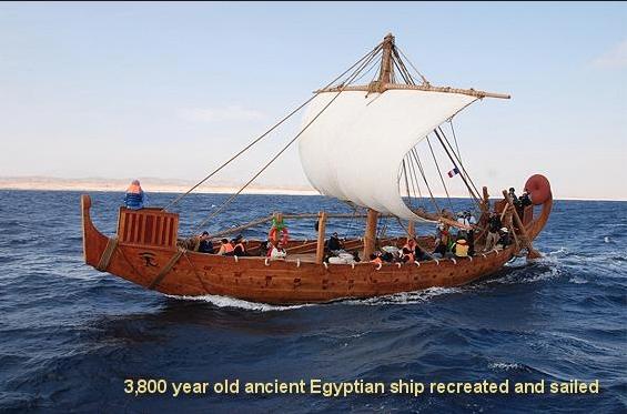 ilustração de navio à vela retratado em pote egípcio