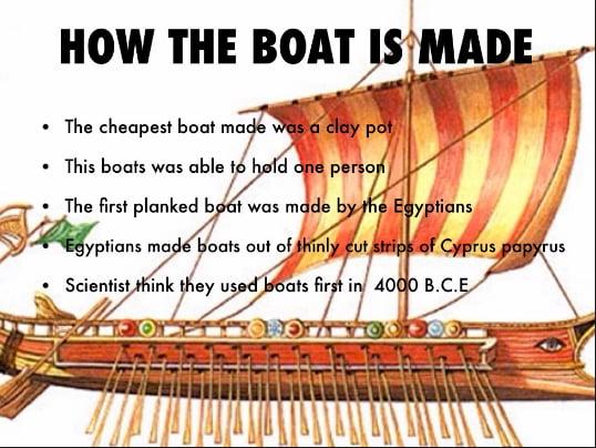 ilustração sobre a construção de barcos egípcios