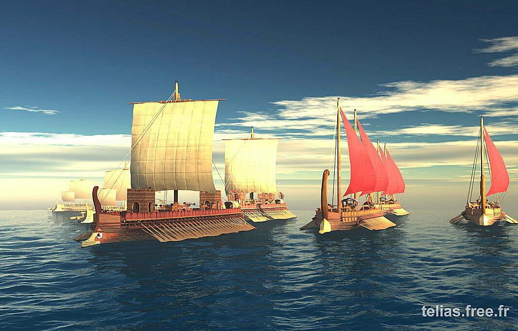 Desenho de antigos barcos egípcios
