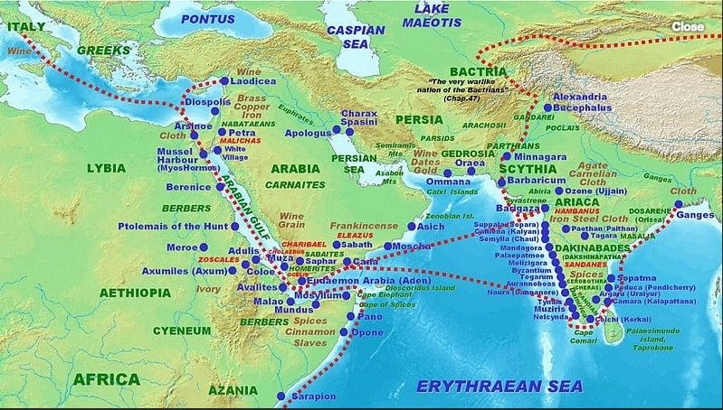 mapa com rotas de navegações egípcias