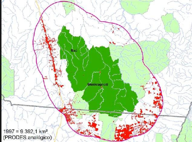 Desmatamento avança sobre unidades de conservação no Pará, mapa da região de Baú, Pará