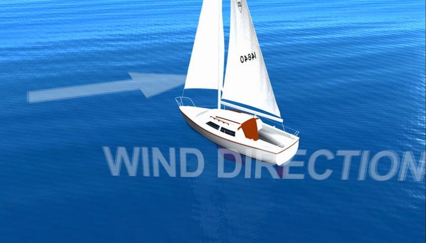 a física da vela, desenho de veleiro contra o vento.