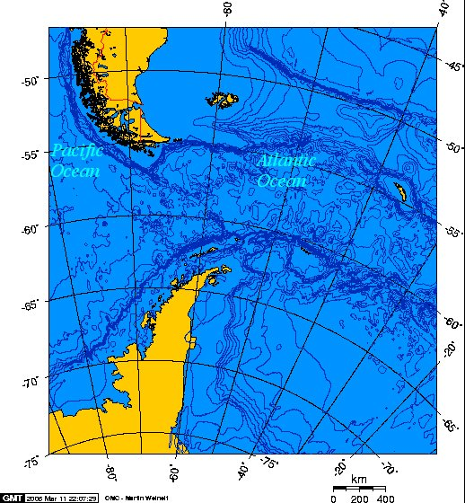 O Clelia II no Drake em 2010, mapa do estreito de Drake