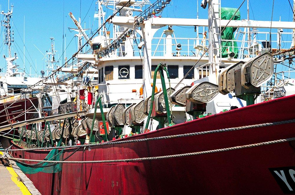 Pesqueiros na costa da Argentina, imagem de enorme navio pesqueiro de lula argentina
