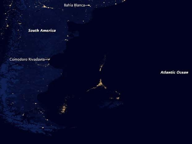 Pesqueiros na costa da Argentina, mapa da nasa mostrado pesqueiros no litoral argentino