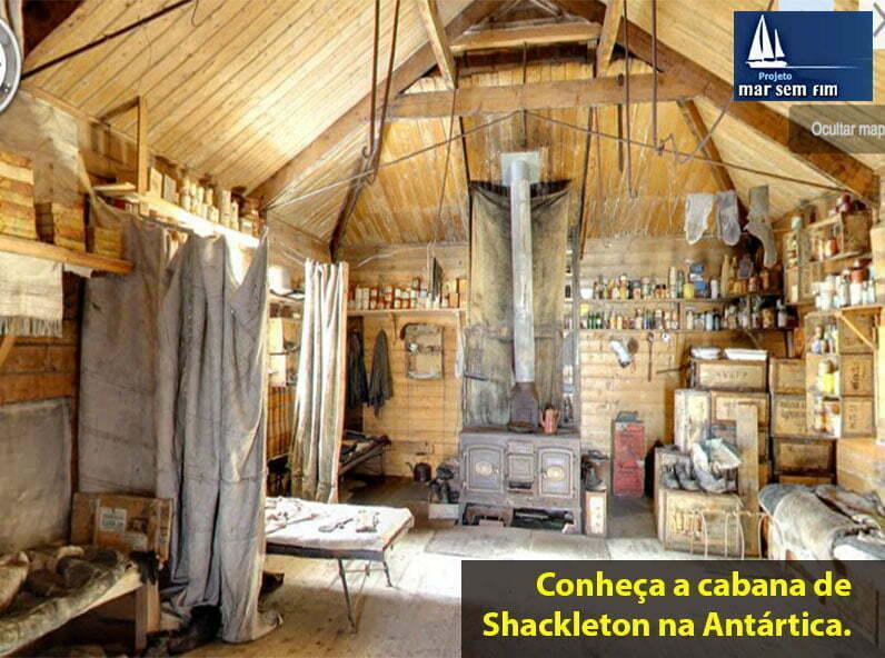 Cabana de Ernest Shackleton, imagem do interior da cabana de Shackleton na antártica