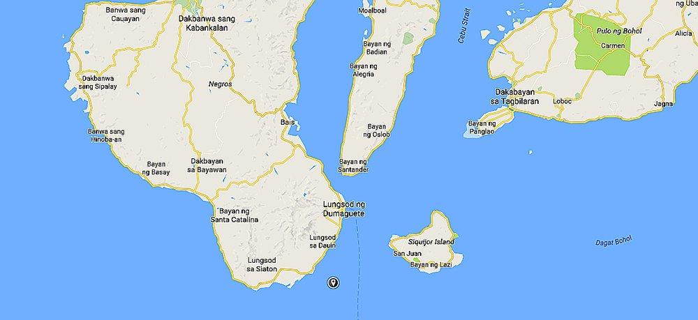 ilha Apo, imagem de mapa com localização da ilha Apo, Filipina